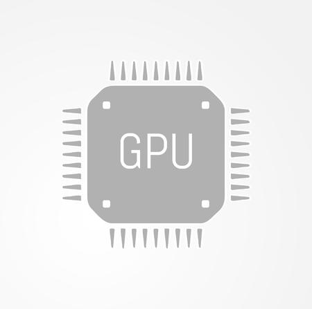GPU Graphics processing unit icon on gray gradient background Vector