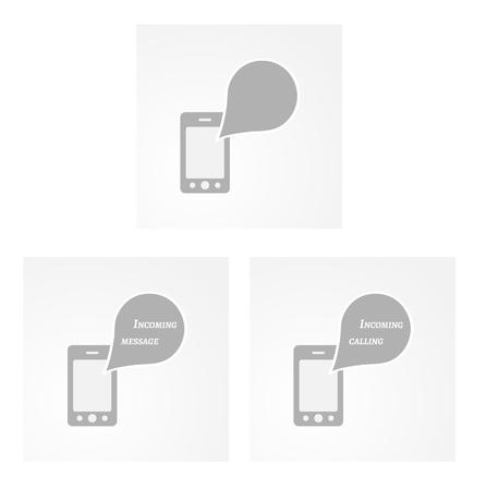 three phones with speak bubbles on gray background Vector