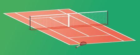 tennis racquet: raqueta de tenis y pelota en la cancha de tenis con la red Vectores