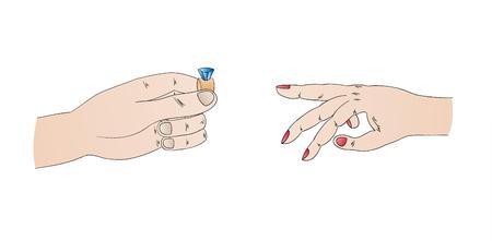 propuesta de matrimonio: propuesta de matrimonio con el anillo y las manos, aislado Vectores