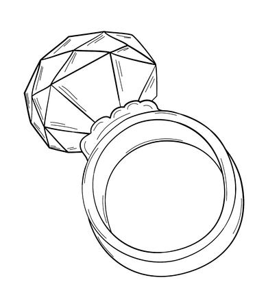 gold ring: gold ring with big cut stone, sketch, isolated