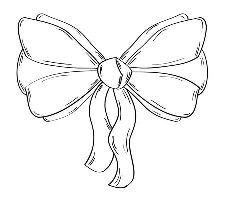 ribbon and bow on the white background, isolated Vector
