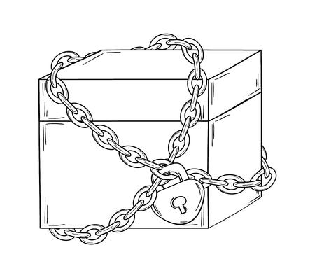 paper chain: closed paper box with chain and lock on white background, isolated