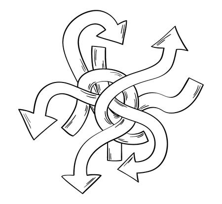 ways: tangle of arrows as symbol of many different ways Illustration