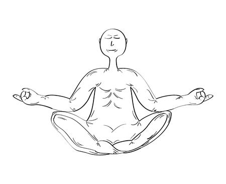 monk in meditating pose on white background, isolated Vector