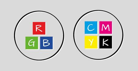 rgb and cmyk icons on gray background Vector