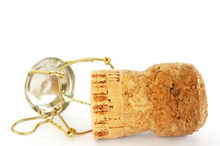 cork from champagne bottle on white background