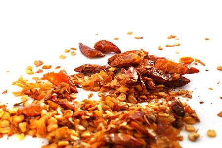 dry chilli and seeds on white background, macro, photo Stock Photo