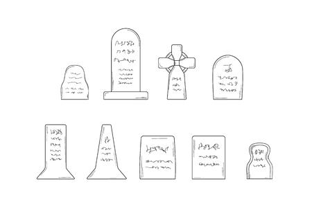 collection of the graves on white background, isolated, sketch Vector
