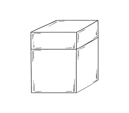 shipped: closed paper box on white background, isolated, sketch