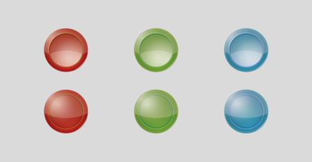 inactive: six badges with red, green and blue color, three of them are inactive and three are active, vector illustration