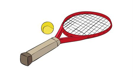 racquet: sketch of the tennis racquet and ball, isolated