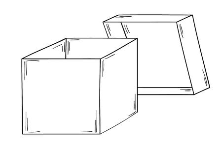 open paper box on white background, isolated, sketch Vector