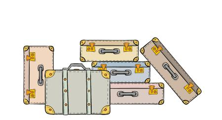 sketch of the suitcases on white background, isolated Vector