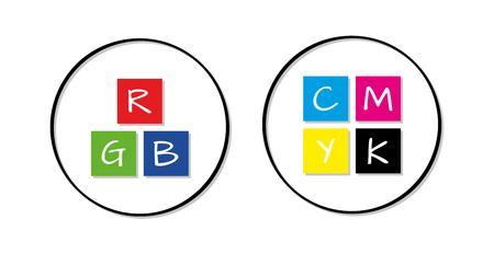 rgb: rgb and cmyk icons on white background