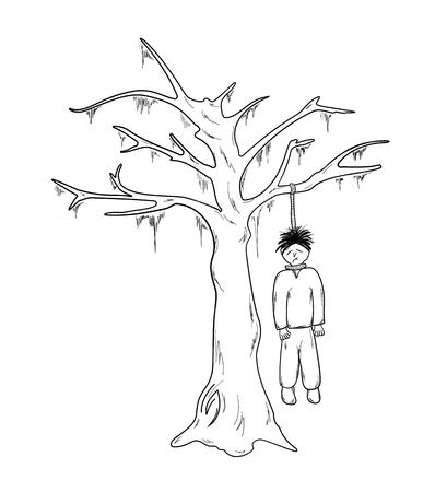 hangman and the tree on white background, sketch, isolated Ilustração
