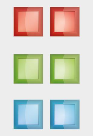 six square badges or buttons with red, green and blue color, difference between left and right button is in middle part - the left middle part imitates convex and the right concave panel  イラスト・ベクター素材