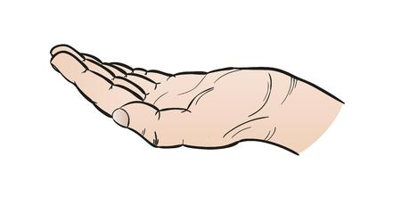 outstretched: open human hand on white background, cartoon, isolated