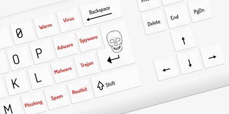 spyware: Teclado blanco con teclas de peligro - virus, gusanos, adware, spyware, malware, troyanos, rootkits, Phishin