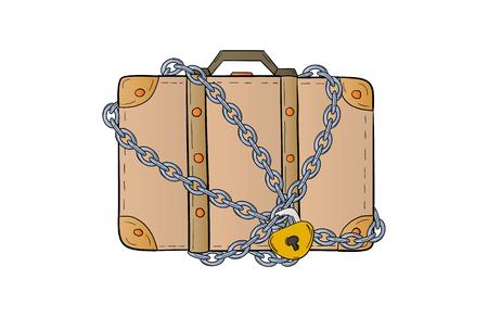 suitcase with chain and lock on white background, isolated