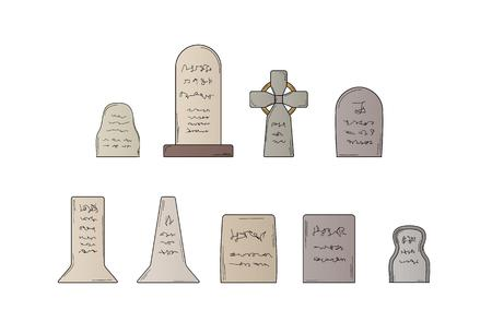 graves: collection of the graves on white background, isolated, sketch Illustration