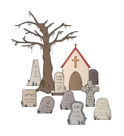 graves: cemetery with graves on white background isolated Illustration