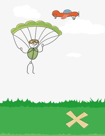 paratrooper: paratrooper jumping from a red plane and cross on the ground