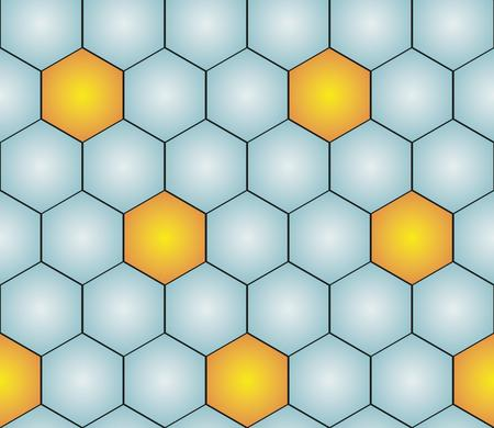 gold  yellow: seamless pattern with gold (yellow) and blue hexagons like football ball pattern Illustration