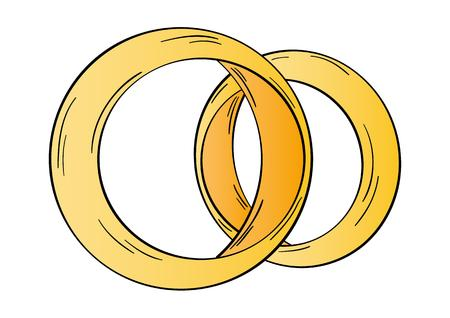 gold rings: two gold rings on white background, isolated