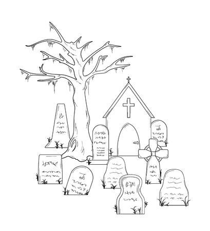 tombes: cimeti�re avec des tombes sur fond blanc, isol�