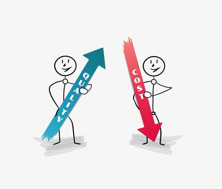 quality service: blue quality and red cost arrows with two persons Illustration