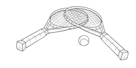 sketch of two tennis racquets and ball, isolated, sketch Ilustração