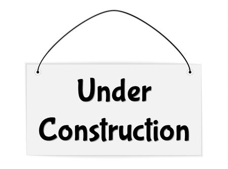 vector sign under construction: hanging sign with text under construction, vector illustration