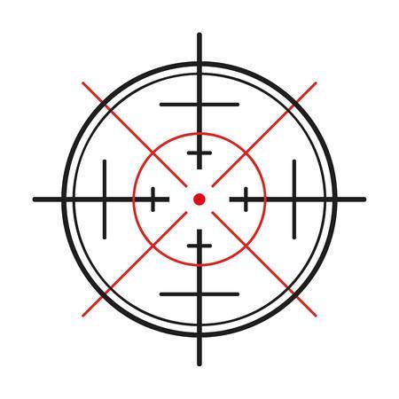 흰색 배경에 총의 십자선 일러스트