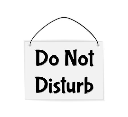 disturbing: hanging sign with text Do Not Disturb, vector illustration Illustration
