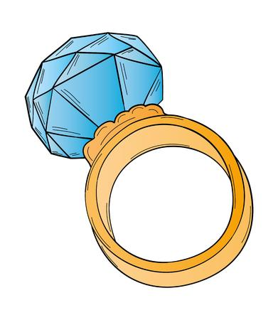 gold ring: gold ring with big blue cut stone, isolated