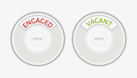 engaged: red engaged and green vacant signs, vector illustration Illustration