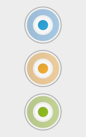 enabled: three badges or buttons with blue, yellow and green color, button have two color circles like a target, vector illustration