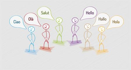 ciao: hello in many languages with many people, international communication