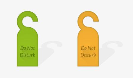 door hanger: green and orange door hanger with text Do Not disturb, vector illustration