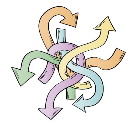 tangle of arrows as symbol of many different ways Illustration