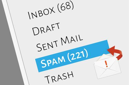 sent: mail box menu with selected spam folder