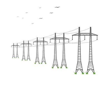 high voltage power lines and birds on white background Banco de Imagens - 41708788