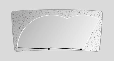 wiper: the dirty front window of an automobile, vector illustration Illustration