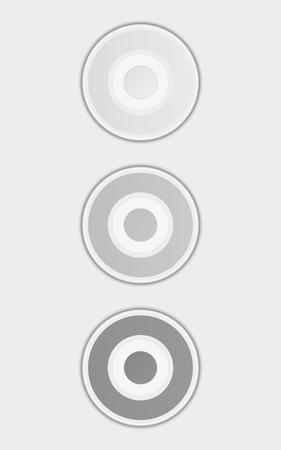 enabled: three badges or buttons with gray or silver color, button have two color circles like a target, vector illustration
