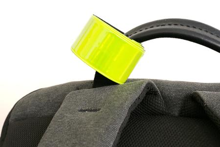 reflective: reflective tape and backpack on white background