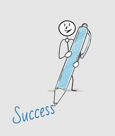 blue pen: success text written by one man with blue pen