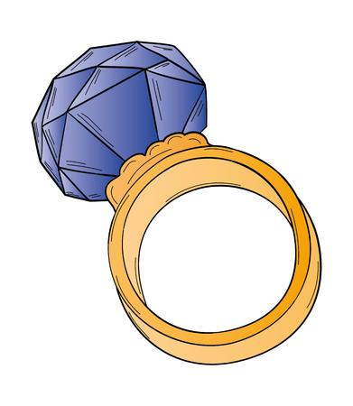 gold ring: gold ring with big dark blue cut stone