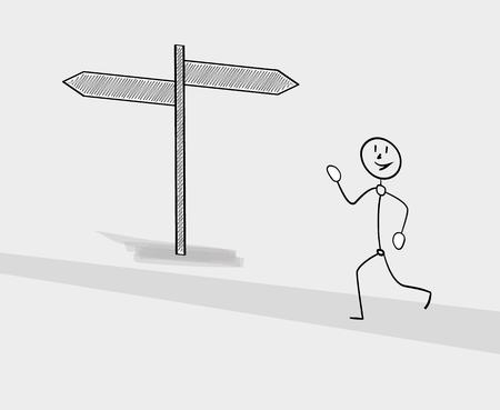 choose a path: man running on the street with two sign arrows Illustration