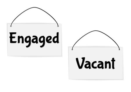 engaged: hanging engaged and vacant signs, vector illustration